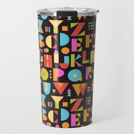 Color Block Alphabet -Black BG Travel Mug