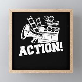 Action Clapperboard Filmmaker Framed Mini Art Print
