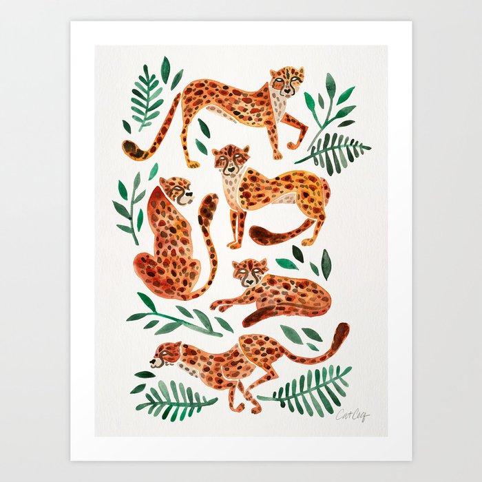Cheetah Collection – Orange & Green Palette Kunstdrucke