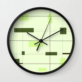 Mid Mod Grid in Green Wall Clock