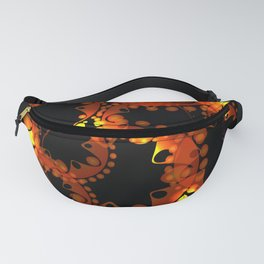 Abstract glowing pattern of gears and spheres in bronze and purple design on a black background. Fanny Pack