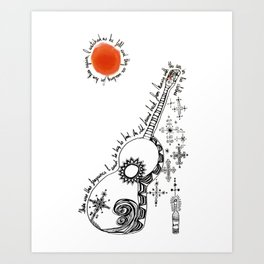 Tattooed Guitar Art Print