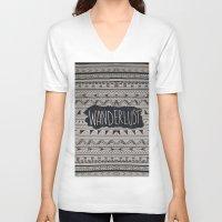 wanderlust V-neck T-shirts featuring WANDERLUST by Vasare Nar