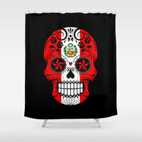 peru Shower Curtains featuring Sugar Skull with Roses and Flag of Peru by Jeff Bartels