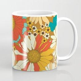 Red, Orange, Turquoise & Brown Retro Floral Pattern Coffee Mug