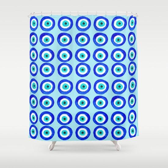 Evil Eye Talisman - on turquoise Shower Curtain