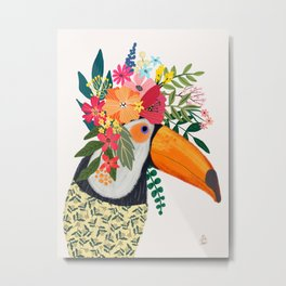 Toucan with flowers on head Metal Print