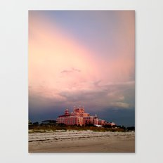Pink Hotel against Pink Skies Canvas Print