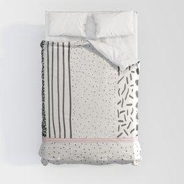 Black white pink polka dots stripes pattern Comforters