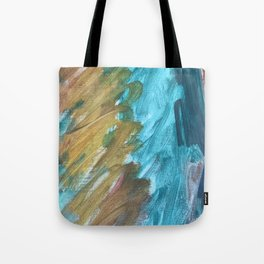 Blue and Gold Abstract Painting Tote Bag