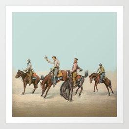 Cowboys On Bucking Horses Art Print