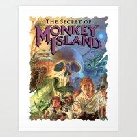 monkey island Art Prints featuring Monkey Island by idaspark