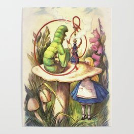 Alice & The Hookah Smoking Caterpillar - Alice In Wonderland Poster
