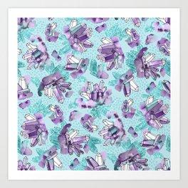 Amethyst Crystal Clusters / Violet and Aqua Art Print