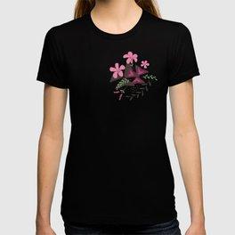Purple Shamrock Floral Layered Pattern / Brown T-shirt