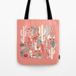 Lama in cactus jungles Tote Bag