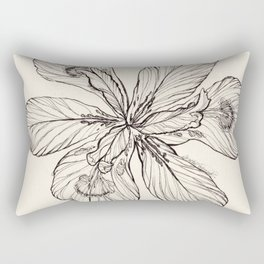 Floral Ink Illustration Rectangular Pillow