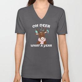 Funny Quarantine Christmas Xmas 2020 Deer Wearing Unisex V-Neck