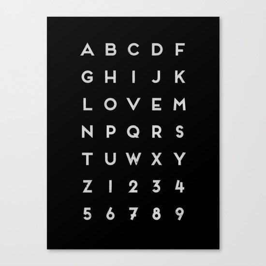 Letter Love - Black Canvas Print