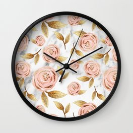 Blushing blooms Wall Clock