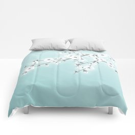 Cherry Blossoms Mint White Comforters