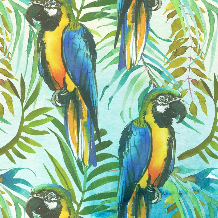 Watercolor blue yellow tropical parrot bird floral Leggings