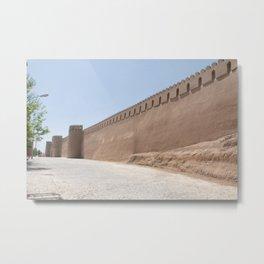 Yazd City Walls with Towers, Persia, Iran Metal Print