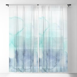 Wanderlust Teal Blue Watercolor Sheer Curtain