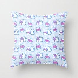 Winter Penguins // Blue Throw Pillow