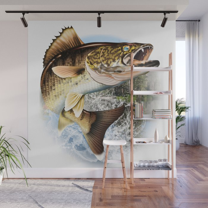 Walleye Jumping  Wall Mural