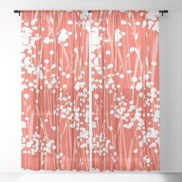 Coral Weeds Sheer Curtain