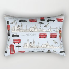 London Skyline and Icons Rectangular Pillow