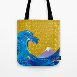 Hokusai Big Wave & Mt.Fuji on Gold-leaf Screen Tote Bag