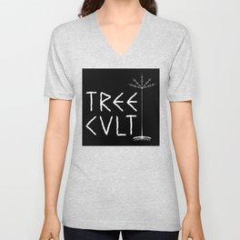 TREE CULT - WHITE ON BLACK Unisex V-Neck