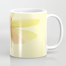 Vintage Inspired Pastel Yellow Salmon Butterfly Coffee Mug