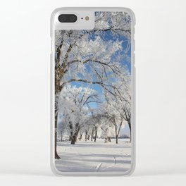 Frosted Trees Clear iPhone Case