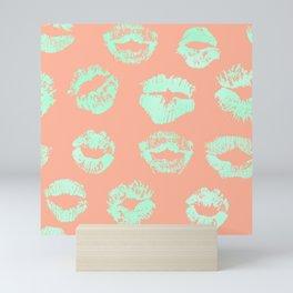 Sweet Life Lips Peach Coral + Mint Meringue Mini Art Print