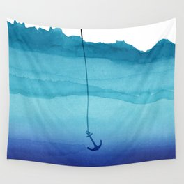 Cute Sinking Anchor in Sea Blue Watercolor Wall Tapestry
