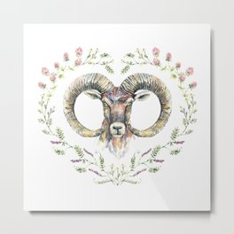 Ram's watercolor portrait with wildflowers wreath. Metal Print