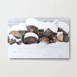 Snow Covered Wood Pile Metal Print