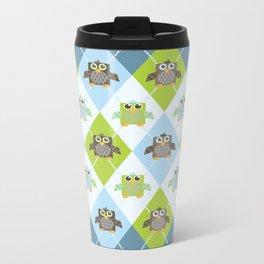 Argyle Owls Metal Travel Mug