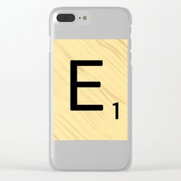 Scrabble E Decor, Scrabble Art, Large Scrabble Prints, Word Art, Accessories, Apparel, Home Decor Clear iPhone Case