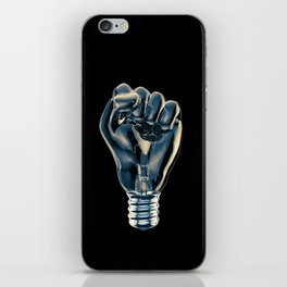 Protest fist light bulb / 3D render of glass light bulb in the form of clenched fist iPhone Skin
