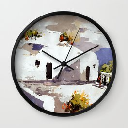 Greek Island Patio Scene Wall Clock