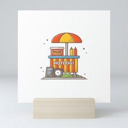 Hotdog stand with sauces Mini Art Print