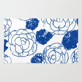 Blue blockprint roses Rug