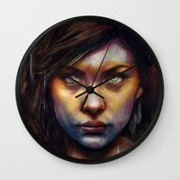oil Wall Clocks featuring Una by Michael Shapcott
