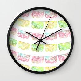 Pastel Watercolor Papel Picado Wall Clock