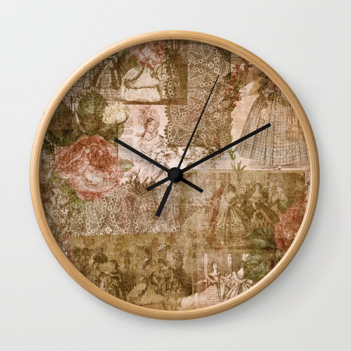Vintage & Shabby Chic - Victorian ladies pattern Wall Clock