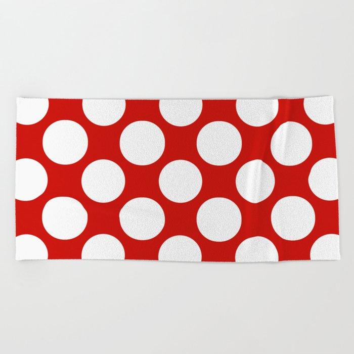 White Red Navy Polka Dot Pattern Beach Towel